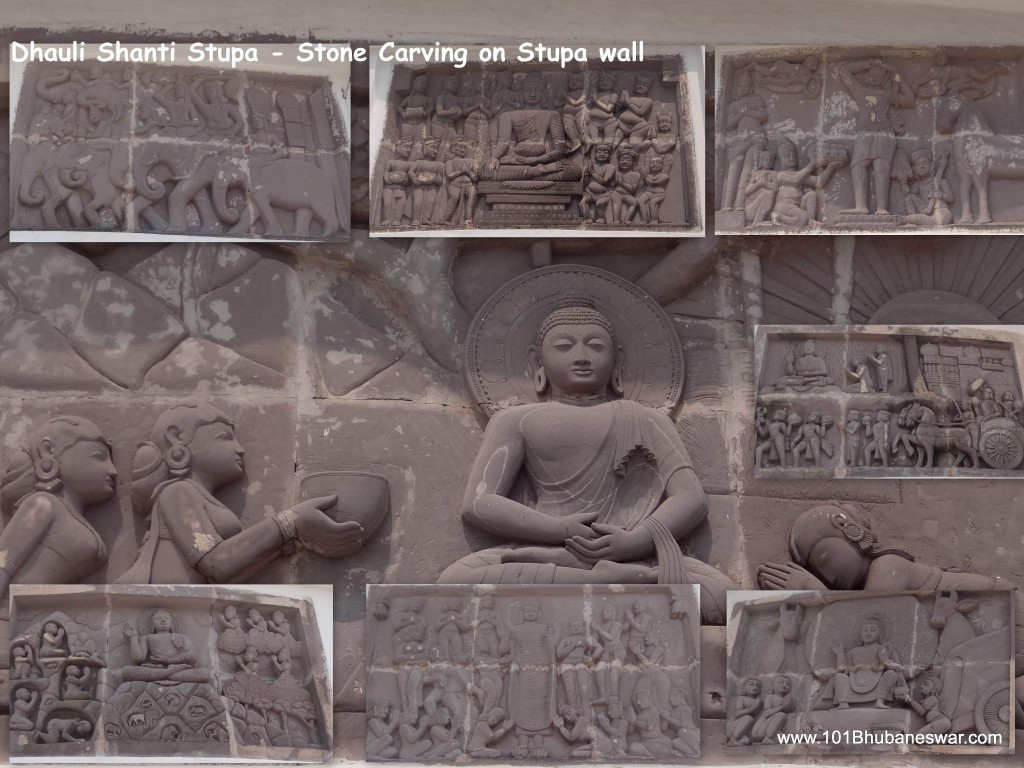 Stone carving on Dhauligiri Shanti Stupa wall