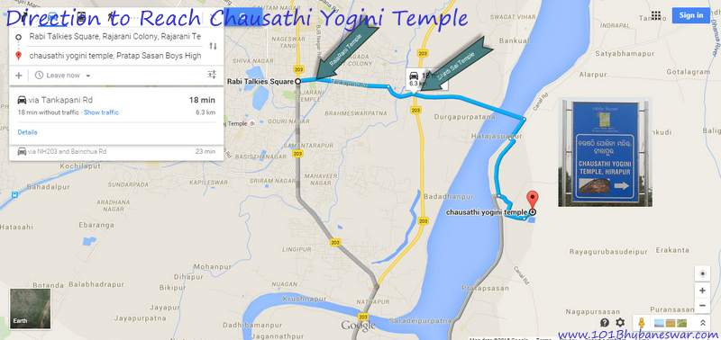 Direction to reach Chausathi Yogini Temple