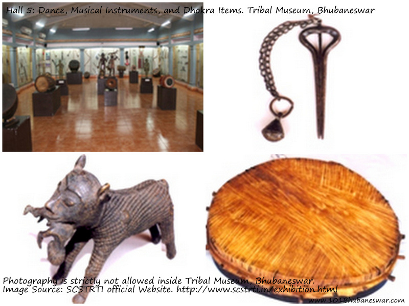 Hall 5: Dance, Musical Instruments, and Dhokra Items. Tribal Museum, Bhubaneswar.